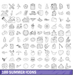 100 summer icons set outline style vector image