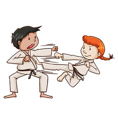 A male and a female doing martial arts vector image