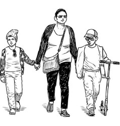 a tonswoman with her kids going on a stroll vector image