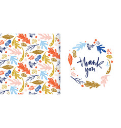 autumn foliage seamless pattern and thank you card vector image