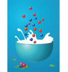 berries fall in milk vector image vector image