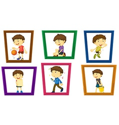 Boy and photo frames vector image