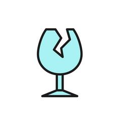 Broken glass garbage flat color line icon vector