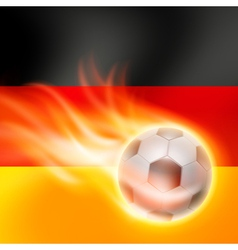 Burning football on Germany flag background vector image