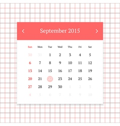Calendar page for September 2015 vector