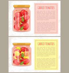 Canned tomatoes food set vector