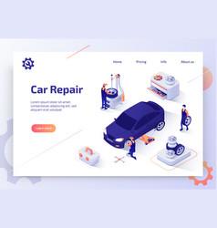 Car repair shop isometric web banner vector