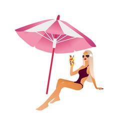 Cartoon beach girl isolated vector