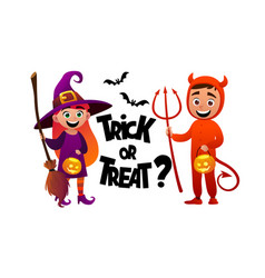 cartoon children witch and devil costume trick or vector image