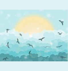 Cartoon flying birds in clouds on sun and cyan vector
