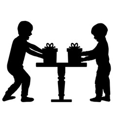 Children gifts happy cheerful child brothers vector