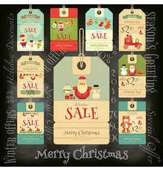 Christmas Sale Tags in Retro Style vector