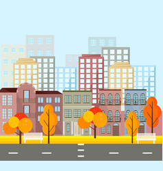 city street view buildings in autumn season vector image