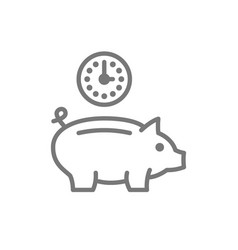 Clock with piggy bank investment debt save time vector
