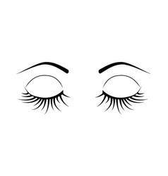 closed eyes eyelash extensions vector image
