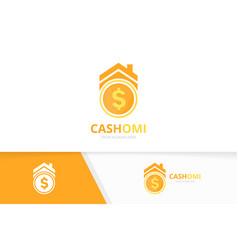 Coin and real estate logo combination vector