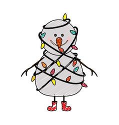 Color crayon stripe cartoon of snowman with red vector