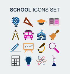 colored school icons set vector image