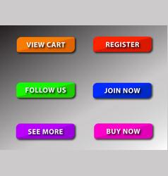 Colourful button set 1 vector
