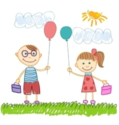 Cute boy and girl sketch background vector
