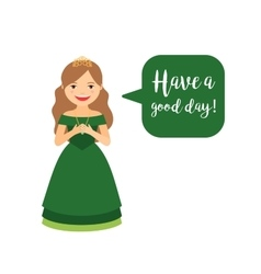 Cute cartoon princess in green dress vector image