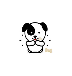 cute dog eat dinner baby vector image