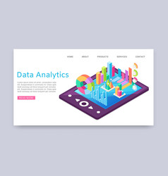 data analitycs charts and research information vector image