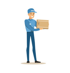 Delivery service worker holding small fragile box vector