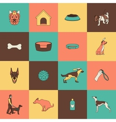 Dog icons flat line vector image