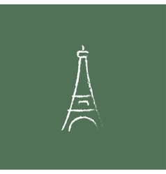Eiffel Tower icon drawn in chalk vector image