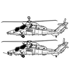 eurocopter airbus helicopters pah-2 tiger vector image