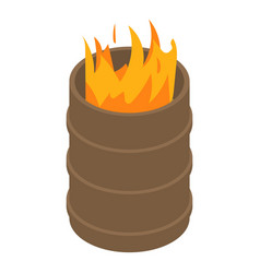 Fire burning in barrel icon isometric style vector