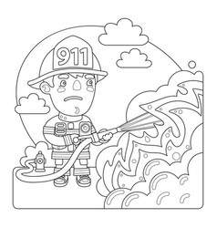 firefighter coloring page vector image