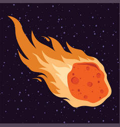 flame meteor asteroid meteor rain fall in cartoon vector image