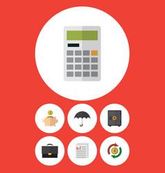 Flat icon finance set of parasol interchange vector