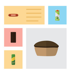 flat icon meal set of packet beverage tart vector image
