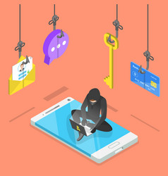 Flat isometric concept of phishing vector