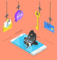 Flat isometric concept phishing vector