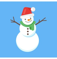 flat style of happy cute snowman in Santa hat and vector image