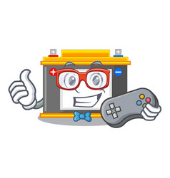 Gamer accomulator cartoon sticks on the wall vector