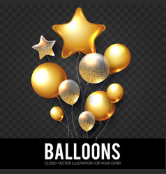 Gold realistic glossy and transparent balloons vector