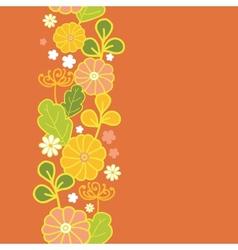 Golden flowers vertical seamless pattern vector image