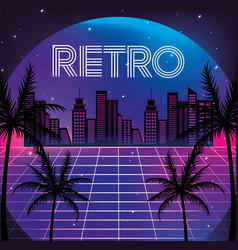Graphic city with palms and neon texture vector