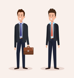 Group businessmen avatars characters vector