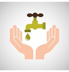 hands care environment tap water vector image