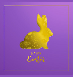 happy easter card with gold paper art rabbit vector image