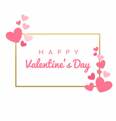 happy valentines day card hearts background vector image