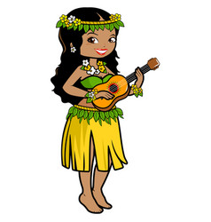 hawaiian woman playing ukulele vector image