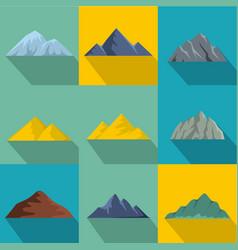 Highest peak icons set flat style vector