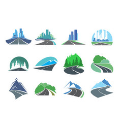Highway icon with skyscrapers trees and mountains vector
